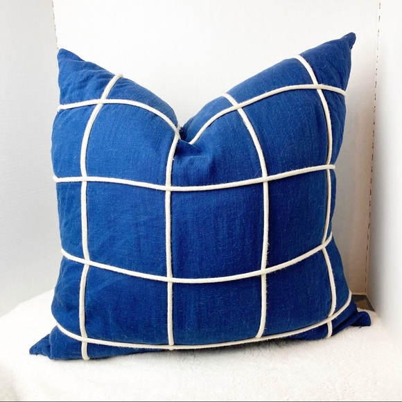 Blue and white nautical throw pillow cover 20 x 20